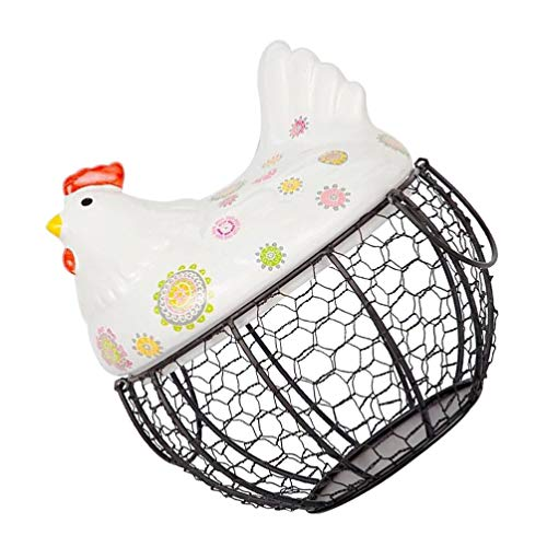 Cabilock Cesta de Almacenamiento de Huevos de Metal Nido de Gallina Cesta de Huevos Decorativa Cesta de Almacenamiento de Cocina Granja de Cerámica Pollo Huevo Titular Organizador