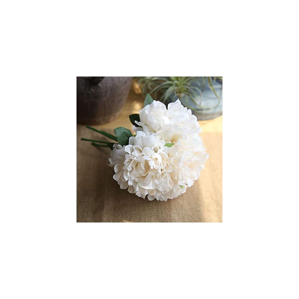 MUYARON Champagne Color Silk Peonies Artificial for Wedding Bouquet Home Party Decoration Fake Flower