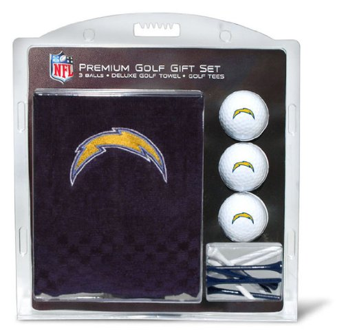 Team Golf NFL Los Angeles Chargers Gift Set Embroidered Golf Towel, 3 Golf Balls, and 14 Golf Tees 2-3/4' Regulation, Tri-Fold Towel 16' x 22' & 100% Cotton