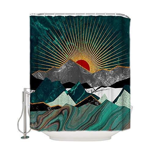 NIBESSER Duschvorhang 180x200 und 180x180 Duschvorhang-Anti-Schimmel-Wasserabweisend-Duschvorhangringen 12 Shower Curtain mit 3D Digitaldruck Grüne Pflanzen (Landschaft-4 180 * 180)