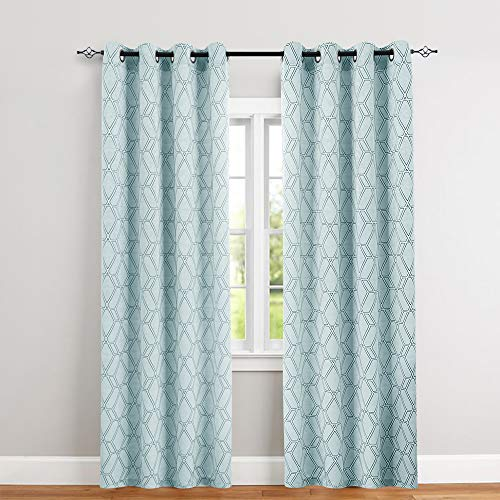 jinchan Jacquard Curtains for Bedroom Lattice Window Treatment Set for Living Room Turquoise 84