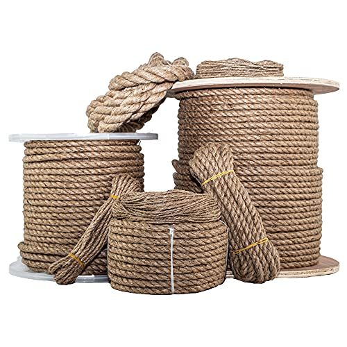 SGT KNOTS Twisted Jute Rope - Natural Fiber for Crafts, Garden, Packing, Home Decor & More (1/2