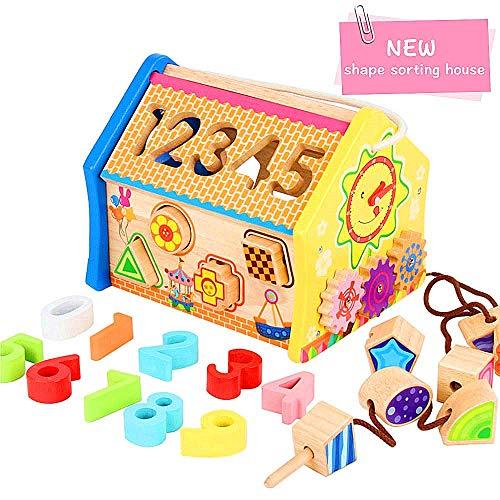Holzform Spielzeug Aktivität Cube 5 in 1 Activity Center Spielzeug-Baby-Multi-Funktions-Spielzeug mit Buchstaben und Zahlen pädagogisches hölzernes Spielzeug-Geschenk for Kleinkinder und Kinder zcaqta