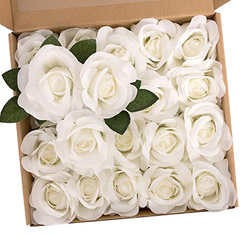N&T NIETING 20Pcs Ivory Artificial Silk Flowers Rose Wedding Bouquets for Bride, Tossing Bouquet, Bridal Bouquet for Wedding Ceremony Anniversary, Bridal Shower, Valentines Day Gifts for Him Her Kids