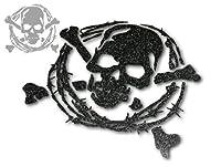 メタリックラメカッティングステッカー スカル(ドクロ)タイプC2 ブラックラメ 小サイズ(8.1cm×9cm)