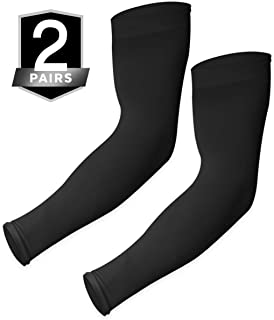UV Sun Protection Arm Sleeves - UPF 50 Cooling Compression Sleeves for Men & Women - Arm Cover/Protector for Basketball, Voleyball, Golf, Baseball, Football, Running, Cycling & Other Outdoor Sports