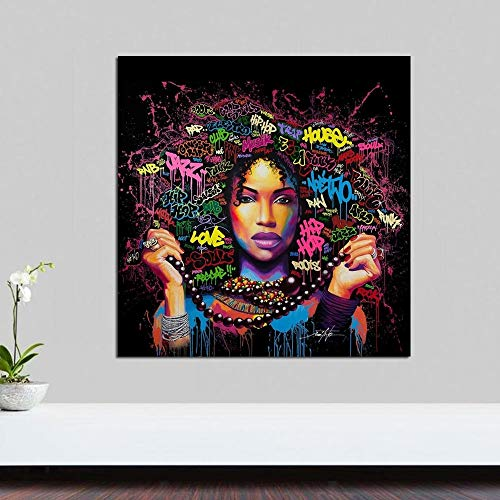 Afroamerikaner Frau Wandkunst Poster Leinwanddruck Leinwand Poster Leinwand Malerei Wohnzimmer Dekoration,Rahmenlose Malerei,60x60cm