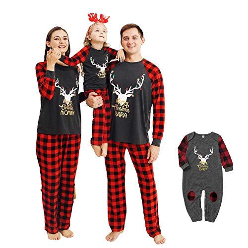 puseky Familie Weihnachten Passende Outfits Elch Plaid Nachtwäsche Nachtwäsche Eltern-Kind Weihnachten Pyjamas Set
