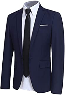 Allthemen Mens Casual Blazer Slim Fit Formal Business Suit Jackets One Button Single Breasted Tuxedo Jacket Smart Blazer