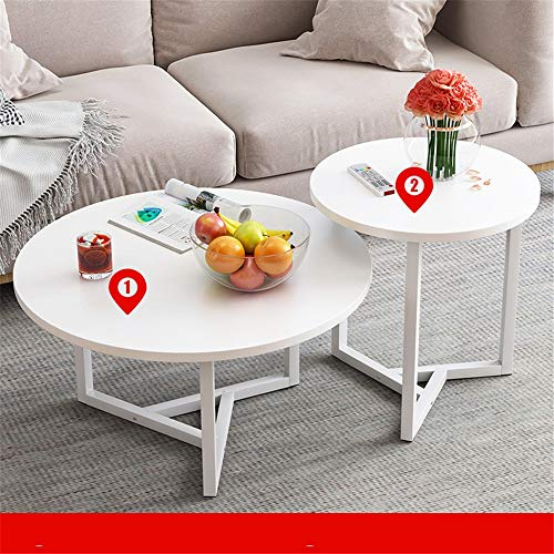 HDBN Coffee Table Wood Coffee Tables Set Of 2 End Tables Modern Leisure With Metal Legs For Living Room Balcony And Office For Living Room (Color : White, Size : M)