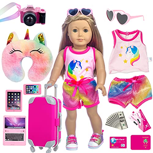 XFEYUE 23 Pcs American 18 inch Doll Clothes and Accessories - Suitcase Luggage , Pillow, Sunglasses, Camera, Passport, Mobile Phone , Computer Doll Travel Gear Play Set Fit American 18 inch Girl Doll