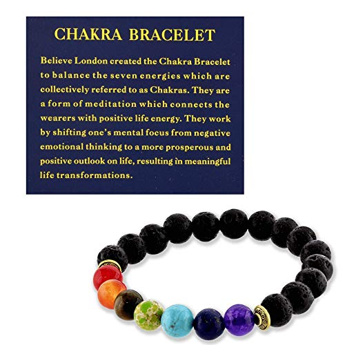 Believe London Chakra Bracelet with Jewelry Bag & Meaning Card | Adjustable Bracelet to Fit Any Wrist | 7 Chakra Natural Stone | Healing Reiki Yoga (6.5 Inch Bracelet)
