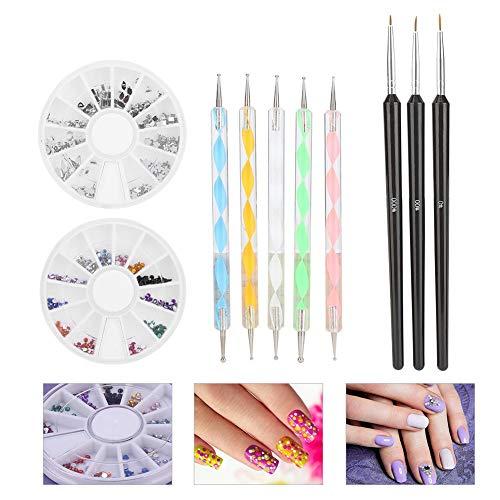Nail Art set, Nail Art professionnel Pinceau Dessin Au trait Peinture Stylo Strass Outils Polonais De Manucure