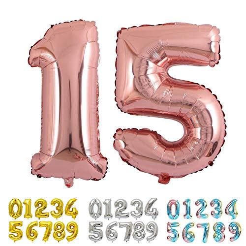 Ponmoo Foil Globo Número 15 51 Oro Rosa, Gigante Numeros 0 1 2 3 4 5 6 7 8 9 10 11 a 19 20 a 29 30 40 50 60 70 80 90 100, Helio Globos para La Boda Aniversario, Globo de Cumpleaños Fiesta Decoración