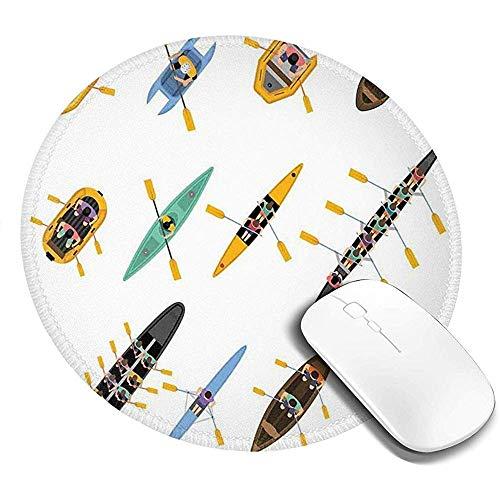 Ronde muismat, Vogels Eye View van Kleurrijke Assortiment van Boten kajaks en kano's met mensen, anti-slip Gaming Mouse Mat