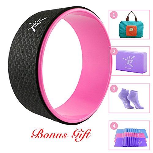 Ruota di Yoga Set - Aiuto di flessibilità per la pratica dello yoga (Pink)