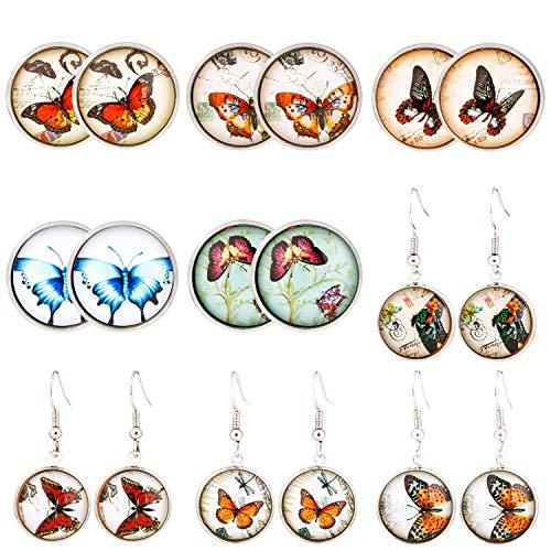 (Kupon DISKON 50%) 9 Pairs Butterfly Stainless Steel Earrings $ 8.00