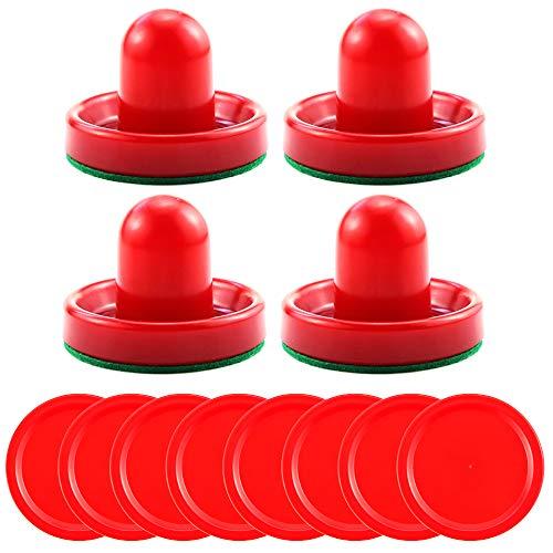 Bignc Light Weight Air Hockey Pushers Red Replacement Pucks (4 Striker, 8 Puck)