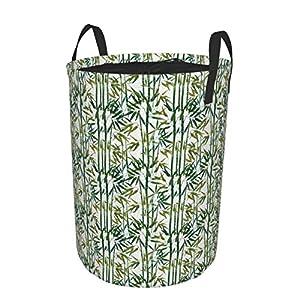 Minalo Large Round Storage Basket with Handles,Japanese Bamboo Watercolor Hand Drawn Boho Artwork,Waterproof Coating Organizer Bin Laundry Hamper for Nursery Clothes Toys 19″x 14″