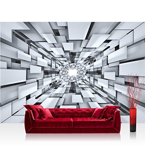 Vlies Fototapete 416x254cm PREMIUM PLUS Wand Foto Tapete Wand Bild Vliestapete - 3D Tapete Abstrakt Muster Rechtecke Formen schwarz weiß - no. 2398