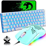 Gaming Keyboard and Mouse,3 in 1 Blue LED Backlit Wired Mechanical Keyboard Black Switch,RGB 6400 DPI Lightweight Gaming Mouse with Honeycomb Shell,Gaming Mouse Pad for PC Gamers(Macaron Green)