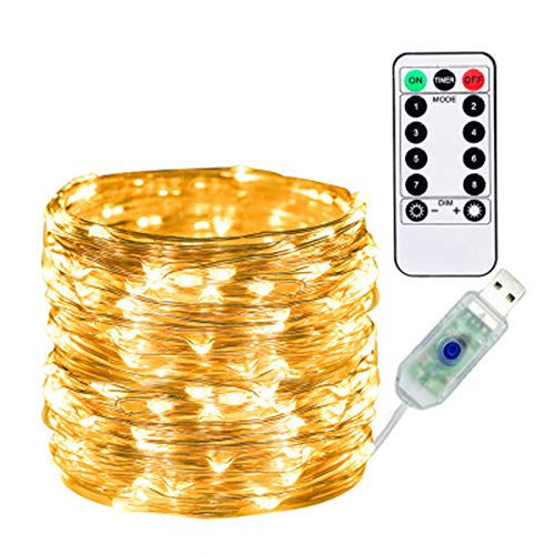 10m 100 lights Led String Light, Copper Wire Firefly Starry Moon Lights, 8 Modes, with Remote Control, for DIY, Wedding Party, Bedroom