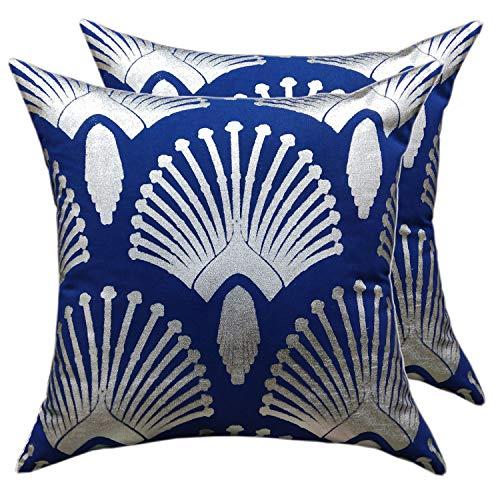 casamia decoratieve kussenset 2 stuks sierkussen sofa kussen fluweel velours 45 x 45 cm pauw design navi blauw metallic