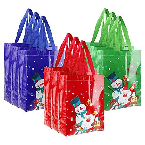 Bolsa de Navidad no tejida, 12 piezas Bolsas de Navidad con asas Bolsas de compras reutilizables multifuncionales Bolsas de regalo navideñas para envolver regalos para fiestas de eventos navideños