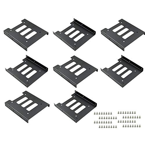 """TUOREN 8Pcs 2.5"""" to 3.5"""" SSD HDD Hard Disk Drive Bays Holder Metal Mounting Bracket Adapter with Screws for PC"""