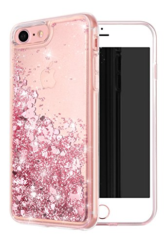 WORLDMOM For iPhone SE2 Case,For iPhone 7 Case,Double Layer Design Bling Flowing Liquid Floating Sparkle Colorful Glitter Waterfall TPU Protective Phone Case for Appe iPhone 8/7/ SE2 (2020), Rose Gold