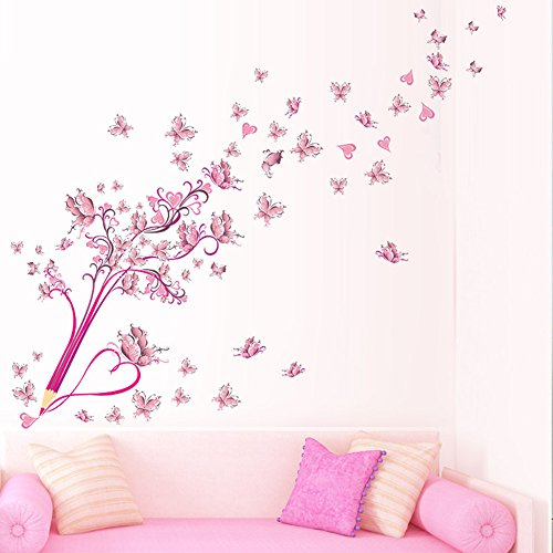 LianLe 45 * 60cm Wall Sticker Adesivo da Parete Fiore Rosa Farfalla Matita Rimovibile Murale per Soggiorno Stanza dei Bambini Camera da Letto