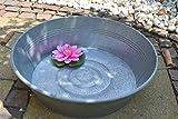 Maison en France Zinkwanne-Durchmesser 58 cm, stabil + wasserdicht- Zinkwanne mit Griffen: rund - - für Haus und Garten, frostsicher