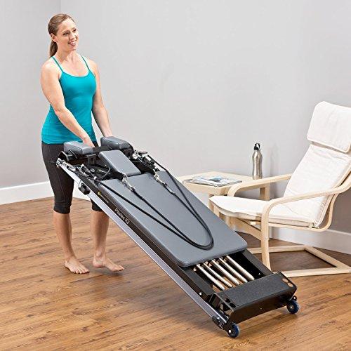 balanced body Pilates IQ Reformer with Wheelbarrow Wheels, Portable, Home Studio Equipment, Home-Gym Exercise Machine