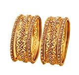 Touchstone Armreif Kollektion Indisches Bollywood Exotisches Filigran und Maserung Klare Rheinfarben Dicke, dünne Armreifen für Damen 2.25 Gold