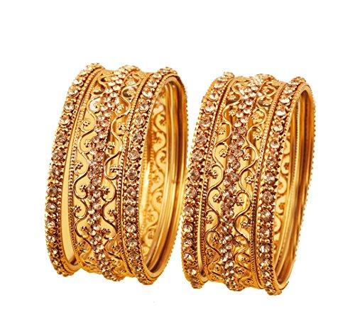 Touchstone armband collectie Indiase Bollywood exotisch filigraan en nerf helder zuiver gekleurde dikte, dunne armbanden voor dames 2,25 goud