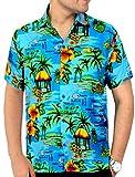 LA LEELA Hawaiana Camisa para Hombre Señores Manga Corta Bolsillo Delantero Surf Palmeras...