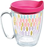 Tervis 1288139 Metallic Touch Tumbler with Wrap and Fuchsia Lid 16oz Mug, Clear