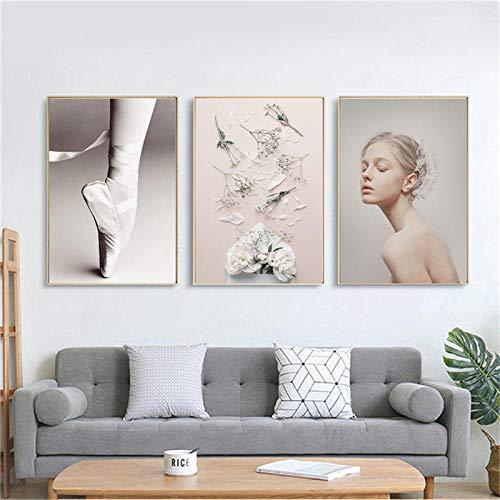 Edgift2 Natur-Poster mit Blume und Mädchen, Leinwand, bedruckt, Tanz, Fotografie, personalisierbar, Nordische Kunst, Dekoration zu Hause, Wand, Kunst, 60 x 80 cm, 3 Stück