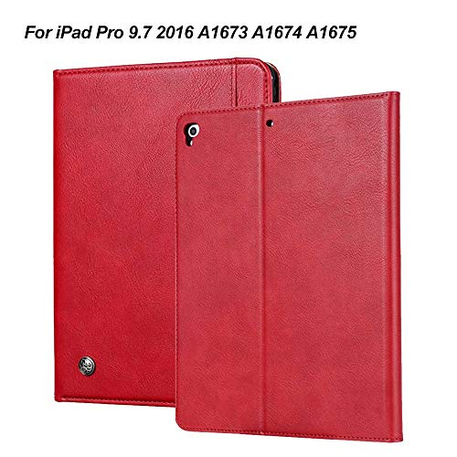 GHC PAD Cases & Covers For iPad Pro 9.7 inch, Shell Cover With Pencil Holder PU Leather Flip Tablet Case For iPad 9.7' 2017 2018 Air 1 Air 2 (Color : Red Pro 9.7)