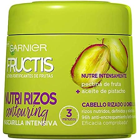 Garnier Fructis Nutri Rizos Contouring Mascarilla Intensiva Fortificante que Nutre y Define, con Pectina de Fruta y Aceite de Pistacho - 300 ml