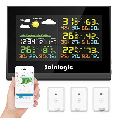 Sainlogic Estación meteorológica de radio WLAN con 3 sensores al aire libre, pronóstico del tiempo, pantalla a color, Wunderground