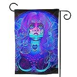 CHENRU Azul púrpura neón hermoso acuario mágico mujer jardín Banner doble cara decoración del hogar patio césped y jardinería Bienvenido casa signo Navidad vacaciones decoración 12.5x18