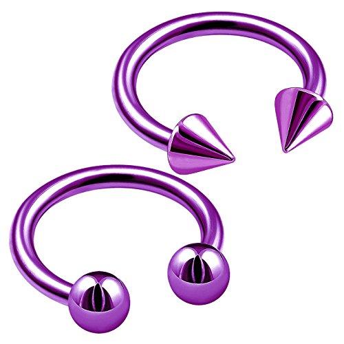 bodyjewelrytrend 2 Stück 1,2mm 8mm piercing circular barbell ohr hufeisen lippe tragus lippenbändchen ohrringe unterlippe septum nase lila eloxiert titan helix C3KCT