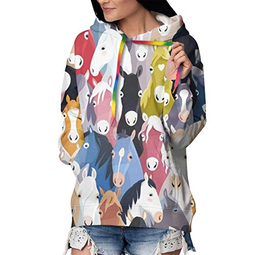 Solardream - Sudadera con capucha para mujer, diseño de caballos de dibujos animados coloridos estampados de manga larga con bolsillo informal, color negro
