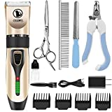 LCD Display Cordless Pet Grooming Clippers Professional Pet Hair Clippers Detachable Blade with 4 Comb Guides for Small Medium & Large Dogs Horse Cats and Other House Animals Pet Grooming Kit