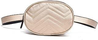 Women's Leisure Lightweight Waist Pack, Large Capacity Leather Waist Bag Adjustable Belt Multifunction Shoulder Bag Comfort Durable Mini Version (Size:16 * 7 * 12CM) (Color : Gold)