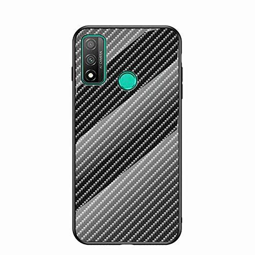 Miagon Glas Handyhülle für Huawei P Smart 2020,Kohlefaser Serie 9H Panzerglas Rückseite mit Weicher Silikon Rahmen Kratzresistent Bumper Hülle für Huawei P Smart 2020,Schwarz