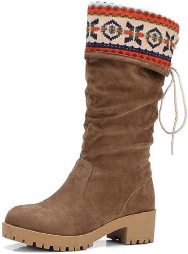 FEFEFEF Bottes d'hiver avec des Bottes pour Femmes, Gommage, Gommage, XI Shi, Vent National, Chaussures pour Femmes de Grande Taille,marron,42  très populaire