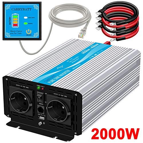 CARRYBATT 2000W Spannungswandler 12V auf 230V Reiner Sinus Wechselrichter mit 5 Meter Fernbedienung mit Dual-AC-Ausgängen & 2.1A USB-Anschluss-Spitzenleistung 4000 Watt