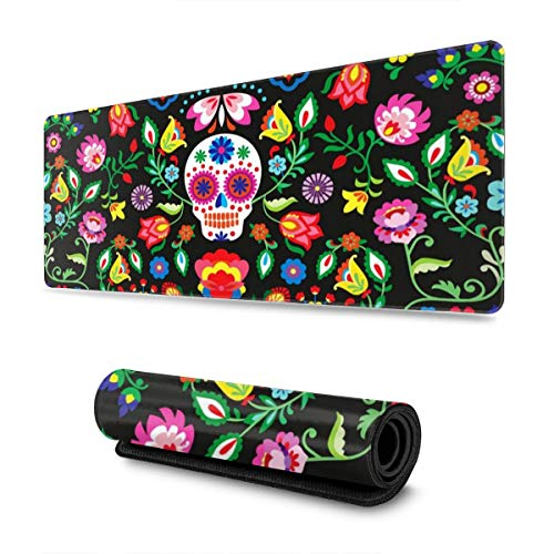 Waldeal Cartoon Sugar Cute Skull Flower Extra Large Gaming Mouse Pad for Computer, 300mmx800mmx3mm
